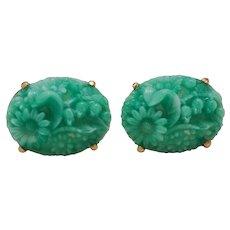 Amazing Large Molded Green Peking Glass Cuff Links