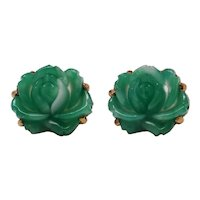 Beautiful Large Molded Green Peking Glass Rose Cuff Links