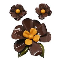 Big Bold Chocolate Brown Floral Brooch and Earrings Set