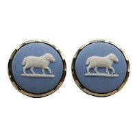 Wedgwood Blue Jasperware Cuff Links by Stratton - Aries