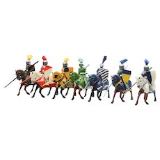 Seven Colorful Metal Mounted Knights Made in England