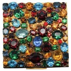 Elgin American Vintage Rhinestone Jeweled Powder Compact