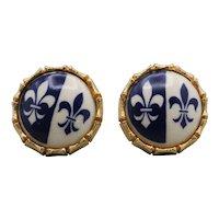 Blue and White Ceramic Fleur de Lis Cufflinks
