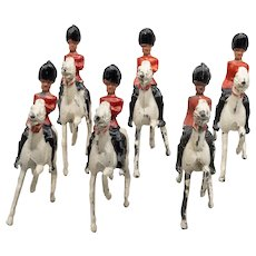 6 Crescent Mounted Guardsmen Vintage Lead Toy Soldiers
