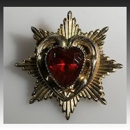 Coro Goldtone Star Pin with Red Rhinestone Heart