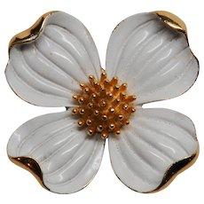 Large Vintage Trifari White Enamel Dogwood Pin Brooch