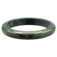 Petite Smooth Green Marbled Bakelite Bangle