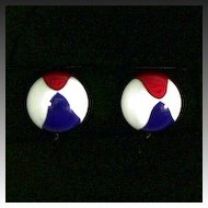 Big Red, White, and Blue Beach Ball Earrings