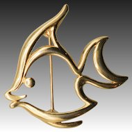 Trifari Goldtone Outline Angelfish Pin or Brooch