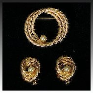 Ultra Classic Goldtone Twisted Rope Pin and Earring Set