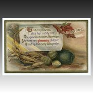 Winsch Thanksgiving Postcard with Poem and Produce