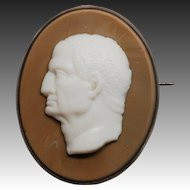Very Rare Glass Cameo Antique Pin or Brooch  - Left Facing Male