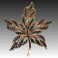 Crown Trifari Rhinestone Leaf Pin - Blue and Green