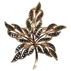 Crown Trifari Rhinestone Leaf Pin - Blue and Green