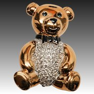 Charming Goldtone Carolee Rhinestone Teddy Bear Brooch