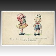Vintage Valentine Postcard with children