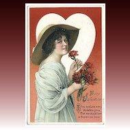 Wolf Valentine Postcard with Beautiful Woman, International Art