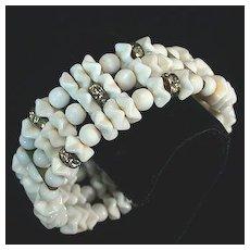 Stunning White Glass Bead Memory Wire Bracelet