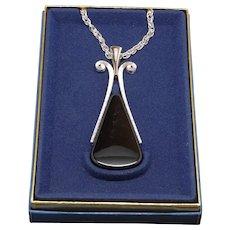 Huge Avon Mod Black and Silvertone Pendant Necklace