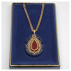 Avon Amber Teardrop Pendant Necklace