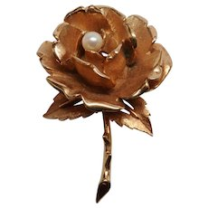 Excellent Vintage Boucher Rose Pin with Faux Pearl Center