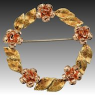 Krementz Wreath Pin - Leaves and Roses