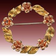 Krementz Wreath Pin - Leaves and Roses