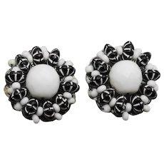 Stunning Hobe Black and White Beaded Clip Earrings
