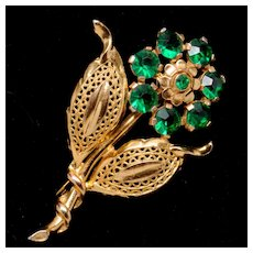 Beautiful Floral Pin Brooch with Emerald Green Stones