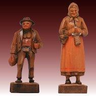 Dobin Brienz Switzerland Two Wood Carved Figures