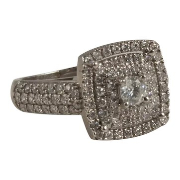 14K White Gold and Diamond Square Design Ring