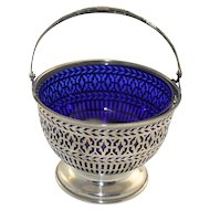 Sterling silver basket with cobalt liner