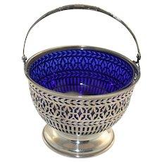 Sterling silver basket with cobalt liner