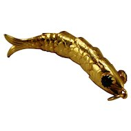 Vintage 18kt Articulated Fish Pendant