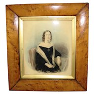 19th century Watercolour  Portrait in a Birds Eye Maple Frame