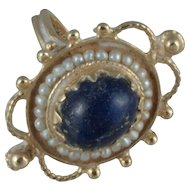 Lapis and Pearl Ring