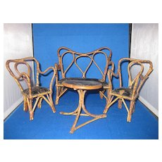 Vintage Doll Rattan Like 4 Piece Parlor Set