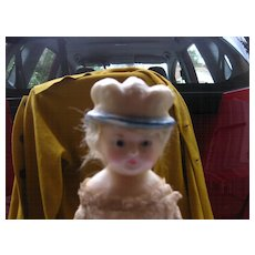 Molded Wax Hat with Blond Hair Papier Mache Doll