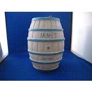 """Papier Mache Advertisement Bank """"James Salt Water Taffy"""""""