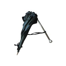Vintage Black with Silver handle Child's Umbrella