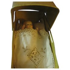 Tin Baby Doll Carriage with Baby