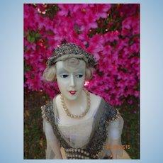 French Fashion Wax Head Art Deco Doll
