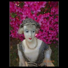 French Fashion Wax Head Art Deco Doll