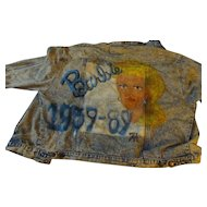 Stoned  Washed Denim  Jacket With Barbie Doll painted on back