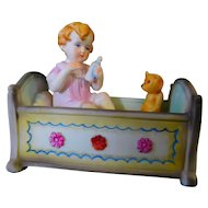 All Bisque Cradle with Baby with Teddy