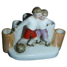 Figurine with 2 Boys  Vase