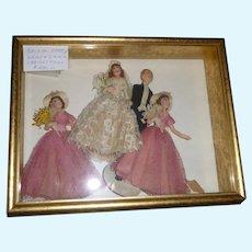 Vintage Framed  Crepe Paper  Bridal Party  Dolls