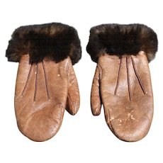 Vintage Childs Leather Mittens