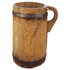 Early Large Primitive Wood Staved Tankard