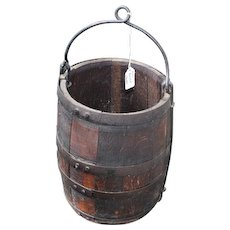 Primitive Staved Wood Staved Well Bucket